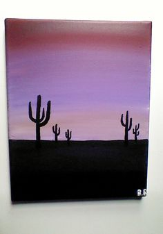 Original Arizona Sunset with Cactus Acrylic Painting, Nature Scenery, Desert Art, Wall Decor, Stretched Canvas 8x10 by CanvasOfThoughts on Etsy https://www.etsy.com/listing/235267772/original-arizona-sunset-with-cactus