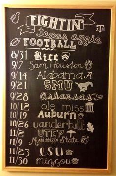 College football schedule chalkboard