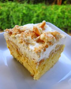 Banana Pudding Cake by Plain Chicken  ~ Didn't want to make a whole 9x13 of this so used 1 box of Trader Joe's vanilla cake mix (makes an 8x8), one box pudding, 3/4 c. whipping cream and Trader Joes's vanilla wafers.  Holy cow.  Now I wish I had in fact made a 9x13 pan!