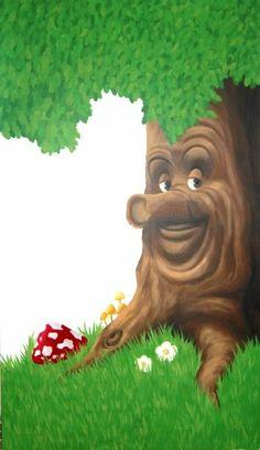 Muurschildering boom uit de Efteling