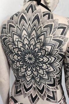 Geometric back tattoo by Dorota Masalska - Book with Dorota on the Tattoodo App or find an artist near you! - #tattooidea #tattooinspo #sacredgeometrytattoo #geometrictattoo #mandalatattoo #dotworktattoo #blackworktattoo