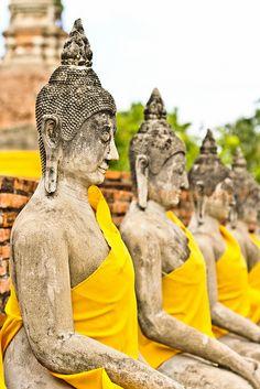 Wat Yai Buddhas, Thailand - in yellow, now instead of saffron orange. I just wanna run away and go to Thailand Thailand Adventure, Thailand Travel, Asia Travel, Adventure Travel, Oh The Places You'll Go, Places To Travel, Laos, Travel Around The World, Around The Worlds