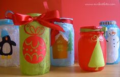 Christmas laterns (or gift jars) out of Mason jars, tissue paper and mod podge