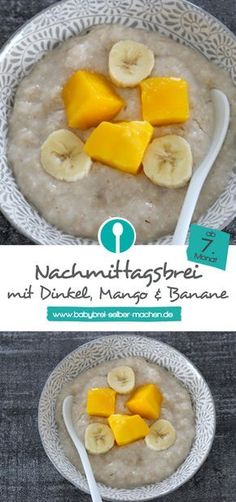 Afternoon porridge with mango & banana - baby porridge recipe from Nachmittagsbrei mit Mango & Banane – Babybrei Rezept ab dem Baby porridge with mango and banana. A simple recipe for homemade afternoon porridge. Suitable for babies from the month. Baby Porridge Recipe, Porridge Recipes, Baby Food Recipes, Gourmet Recipes, Mackerel Recipes, Road Trip Snacks, Lactation Recipes, No Bake Snacks, Italy Food