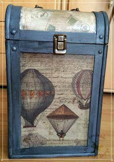 aufgearbeitete Weinkiste, Wein-Geschenk-Box, Kiste, Vintage, tragbar, Unikat…