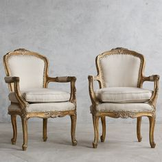 Louis XV Style Unusual Armchairs in Old Gold Leaf Finish $2,305.00 #thebellacottage #shabbychic #eloquence