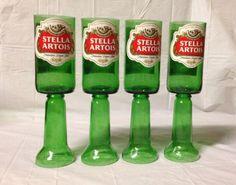 Stella Artois Beer Bottle Wine Glasses. Recycled Glass Bottles. Green Glass.