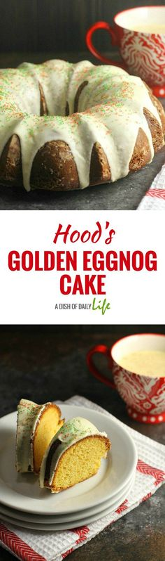 This moist Golden Eggnog Cake, coated with a delicious eggnog glaze and a sprinkling of holiday sugar, is the perfect way to celebrate the holiday season! #ad @hphood