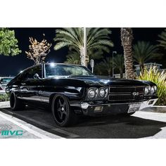 70 chevelle triple black with 5 star wheels