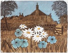 """Cottage and Garden"" by Robert Tavener, c.1978 (linocut)"