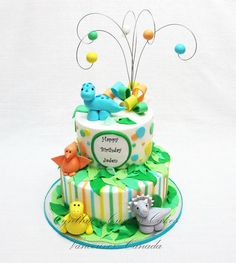 Children's Birthday Cakes - - Buttercream cakes with fondant details and fondant figurines Dinosaur Cakes For Boys, Dinosaur Birthday Cakes, 3rd Birthday Cakes, Dinosaur Party, Buttercream Cake, Fondant Cakes, Cupcakes, Cupcake Cakes, Dinasour Cake