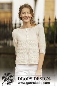 "Knitted DROPS jacket in garter st with lace pattern and round yoke, worked top down in ""BabyAlpaca Silk"". Size: S - XXXL."