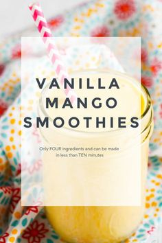 Four Ingredients and a ten minute prep time! This Vanilla Mango Smoothie will rock your grab and go breakfast needs in the morning. Customize it with leftover fruits and have a healthy and satisfying breakfast treat! Mango Smoothie Recipes, Smoothie Popsicles, Blackberry Smoothie, Vanilla Smoothie, Smoothie Prep, Smoothie Bowl, Fruit Smoothies, Grab And Go Breakfast, Breakfast Ideas
