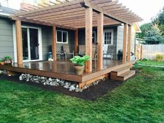 New Homes, Diy Pergola, Deck Design, Diy Patio, Deck With Pergola, Outdoor Living, Dream Backyard