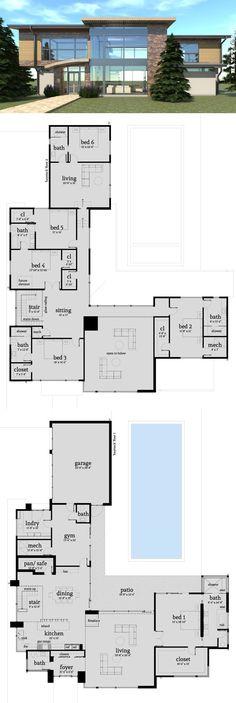 6 Bedroom Modern Home with Safe Room - Floor Plan - Condominium/ House/ Villa - Luxury House Plans, Dream House Plans, Modern House Plans, Modern House Design, Big Modern Houses, 6 Bedroom House Plans, Modern Floor Plans, Cool Houses, Sims 4 Modern House