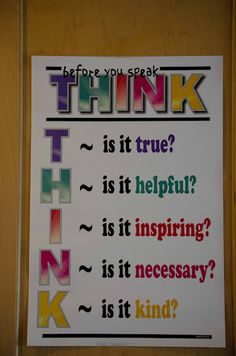 Buy Think Before You Speak - Classroom Motivational Poster by PosterEnvy Classroom Motivational Posters, Classroom Posters, Classroom Displays, Art Classroom, Classroom Organization, Classroom Management, Classroom Ideas, Behavior Management, Classroom Signs