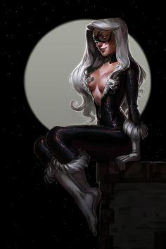 Black Cat by Lera Pikalova Marvel Comic Book Artwork Marvel Comic Character, Marvel Comic Books, Marvel Art, Ms Marvel, Marvel Heroes, Spiderman Black Cat, Black Cat Marvel, Spiderman Pics, Black Cat Comics
