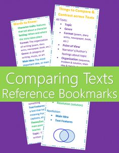 Comparing Texts / Comparing Multiple Accounts reference bookmarks. Help students compare and contrast texts at a higher level by giving them a list of things to compare. Key terms defined on back.