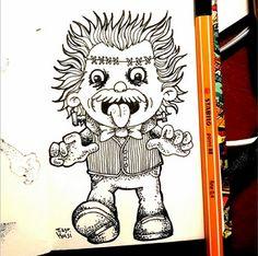 O Tiago Holsi criou o projeto #365desenhos. Ele fará um desenho por dia, durante 1 ano. E adivinha qual caneta ele usa? STABILO Point 88, é claro. *------*  Esse é o FrankEinstein. Se liga nos outros trabalhos desse talentoso desenhista: www.instagram.com/tiagoholsi