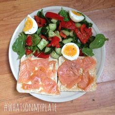 @charl0ttes_bbg & @phoenix_fitt asked #whatsonmyplate  how did it get to 3:45pm!? Wow! This is today's lunch (late lunch..) of sandwich thins topped with salmon & hummus (obviously ) with a sexy spinach cucumber red pepper and egg salad with black pepper and a tsp of basil infused olive oil. Delish!  Tagged ladies what's on your plates?