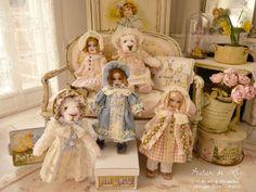 "Christine-Lea Frisoni, Atelier de Lea - dressed antique reproduction dolls and rabbits, aprox 2"" tall"