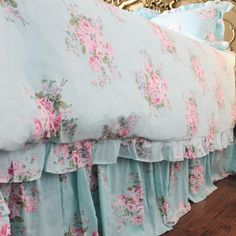 Blue Aqua Pink Rose Ruffle Cotton Luxury Shabby Chic by LushLovely Small Room Design Bedroom, Dream Bedroom, Interior Design Living Room, Bedroom Decor, Duvet Sets, Duvet Cover Sets, Bed Sets, Shabby Chic Pink, Chabby Chic