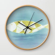 sea Wall Clock by afrorubini Wall Clock Frame, Unique Wall Clocks, Home Deco, Natural Wood, Kids Room, White Frames, Sea, Crystals, Hands