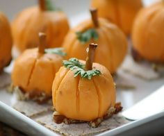 Cheese Pumpkin Appetizers at Fun and Food Cafe  via  Spooky and Playful: The Best Halloween Treats (for 2011)  Lots of fun recipes from thekitchn.com
