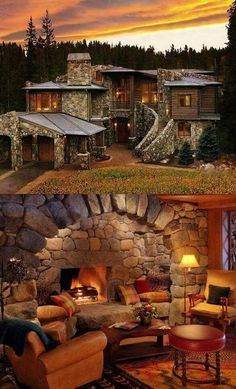 A cozy cottage - Tiny Garden Cottage Future House, My House, Rustic Exterior, Log Cabin Homes, Log Cabins, Rock Decor, Cozy Cottage, Mountain Cottage, Cozy Cabin