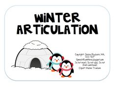winter articulation TPT download includes 71 pages and includes articulation game for the sounds R, S, S blends, and TH.  From SpeechRoomNews