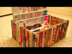 DIY Recycled Magazine Organizer - YouTube