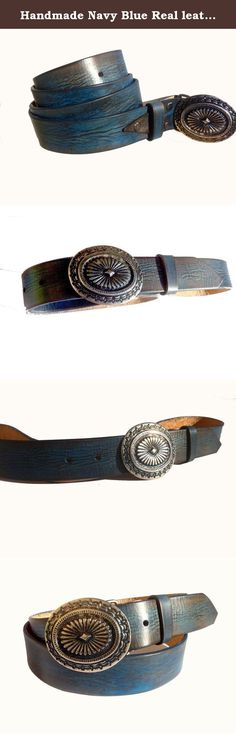 """Handmade Navy Blue Real leather belt with Western buckle man woman leather belt 1.4"""" width Custom length. This Navy leather belt comes in a wide variety of sizes. It is created from 8-9 oz full grain leather and is hand tooled, this belt will last for years. The belt is blue/black color. Made of natural vegetable tanned leather and eco- friendly dyes and stains, this belt will stand out from typical belts. Buckle material: metal alloy in a Oxide Silver color (on request i can put a…"""