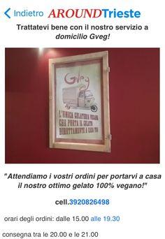 ##Gelateria #Trieste Gveg ..la prima gelateria vegana a Trieste...tanti gusti da poter assaggiare fra creme e frutta di primissima qualità, tutti senza latte e glutine....Trattatevi bene con il servizio a domicilio Gveg! Chiamate il 3920826498 e il gelato Gveg arriverà a casa vostra!!...