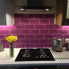 Ceramic Pimlico Purple Tiles from the Metro Tiles range by Urban Chic - Kitchen Tiles, Kitchen Layout, Decoration Gris, Metro Tiles, Home Kitchens, Stove, Tile Floor, Color Schemes, Kitchen Appliances