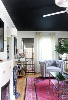 Black, White & Bold Living Room Reveal - great detail work on one wall Bold Living Room, Living Room Area Rugs, Beautiful Living Rooms, Living Room Paint, Living Room Carpet, Living Spaces, Design Rustique, Dark Ceiling, Ceiling Color