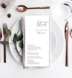 Wedding Dinner Menu, Diy Wedding Menu, Wedding Tables, Wedding Decor, Wedding Reception, Wedding Ideas, Wedding Menu Template, Menu Templates, Wedding