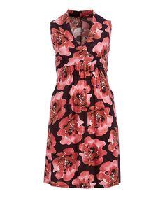 Burgundy & Pink Floral Empire-Waist Dress - Plus | zulily