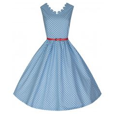 Little Wings Factory - Lindy Bop 'Daria' Pastel Blue Polka Dress,