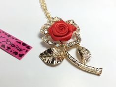 2015 Betsey Johnson Crystal Rose Flower Pendant Sweater Luxury Chain Necklace A - http://designerjewelrygalleria.com/betsey-johnson/2015-betsey-johnson-crystal-rose-flower-pendant-sweater-luxury-chain-necklace-a-2/