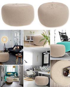 Moderná nafukovacia taburetka béžovej farby Google Home, Ale, Ottoman, Chair, Furniture, Home Decor, Room Ideas, Decoration Home, Room Decor