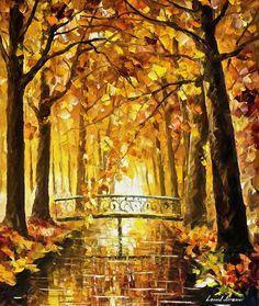 """Paisaje pintura - mucho antes de invierno – Otoño pintura al óleo sobre lienzo de Leonid Afremov. Oro arte, decoración del paisaje, tamaño: 30 """"X 36"""""""