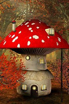 Mushroom House. fairy faerie fey