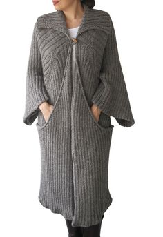 NEW Hand Knitted Maxi Coat Cardigan with Big Pockets Tweed от afra