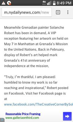 """http://m.nydailynews.com/new-york/caribbeat-bikini-bridge-kicks-31-article-1.2216948 For a second time Grenadian Artist Solanche Robert appears in The New York Daily News! """"Meanwhile Grenadian painter Solanche Robert has been in demand. A VIP reception featuring her artwork on held on May 7 in Manhattan at Grenada's Mission to the United Nations. Back in February, display of Robert's art helped mark Grenada's 41st anniversary of independence at the mission. """"Truly, I'm thankful. I am…"""