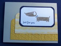 Dachs fur you, Hot Diggity Dog, Thinking of You, Stampin Up Handmade Card, Masculine, Male Card, Yellow and Navy