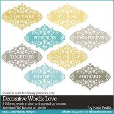 Decorative Words: Love Brushes and Stamps- Katie Pertiet Brushes- DS928371- DesignerDigitals