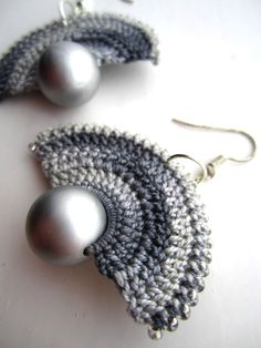 Crocheted fan earrings by BohemianHooksJewelry on Etsy, $15.00