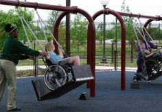 Every child in a wheel chair deserves this. Assessable playgrounds :)-----This is so cool, I wish they had some like this when I was younger.