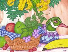 Fruit Basket artwork drawing $99 - $149 size preference click website Artwork Drawings, Rooster, Basket, Website, Fruit, Abstract, Summary, Roosters, Hamper