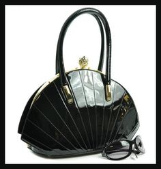 Black Jewel Top Boxy Shell Frame Handbag